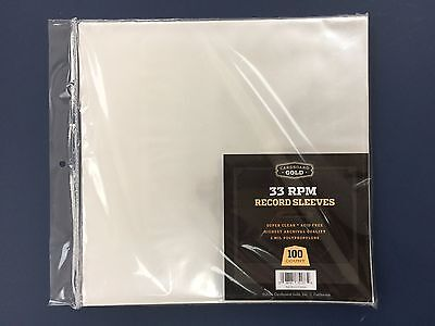 100 Clear Poly Plastic LP Outer Sleeves 2 Mil 12