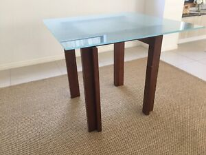 Tempered glass top square dining table (90cm) - 4 seater