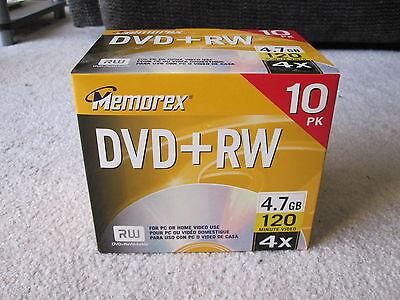 NEW 10-pack Memorex DVD+RW Rewriteable 4.7GB 120-minutes 4X w/10mm Jewel Cases