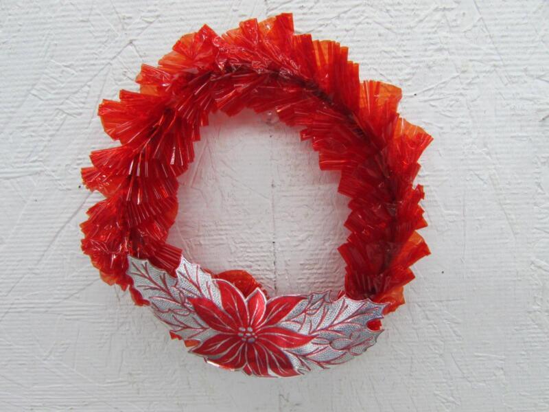 "Vintage Christmas Red Cellophane Wreath W Foil Poinsettia 6"""