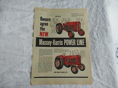 1957 Massey Harris Mh50 Mh444 Tractor Magazine Print Ad Poster