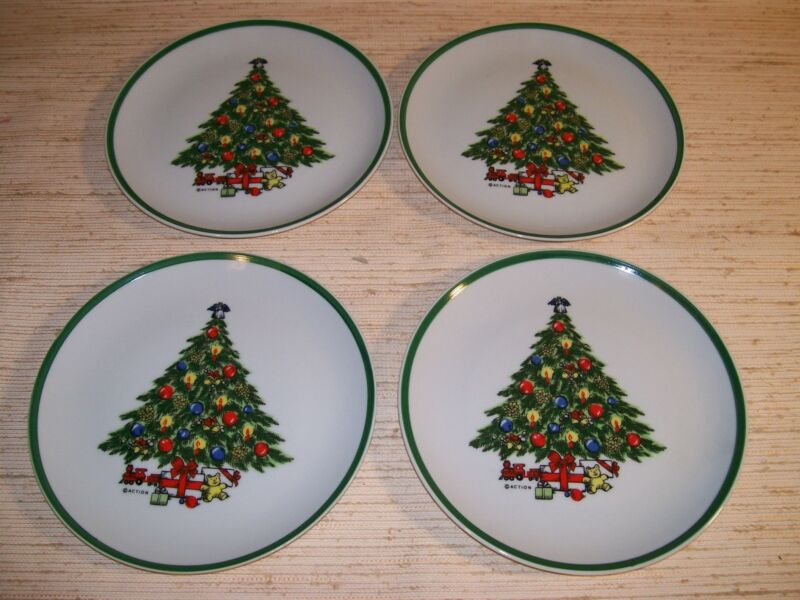 Set of 4 Christmas Porcelain Snack Plates By Carlton