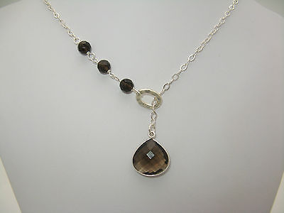 Smoky Quartz Gemstone &  Solid Sterling Silver Lariat Necklace CSD Sundance on Rummage