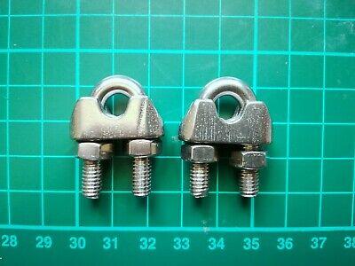 2 UNIDADES abrazadera para cable clip acero inoxidable 6 mm 1/4