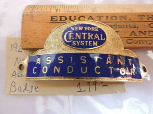 1936 - 1950era NYC Railroad New York Central Assistant Conductor Hat Badge NYCRR