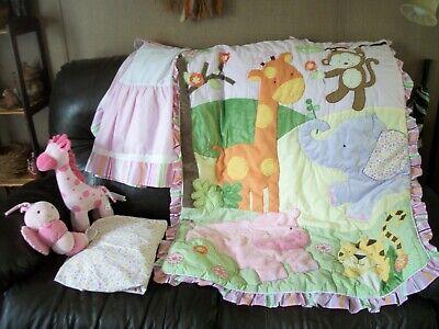 Baby Girl KIDS LINE Crib Bedding Set, Crib Sheet, Quilt, Skirt, 2 Toys, VGC