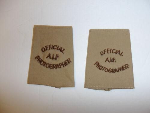 c0396p WW2 Australian Infantry Forces Official A.I.F Photographer tabs pair R10E