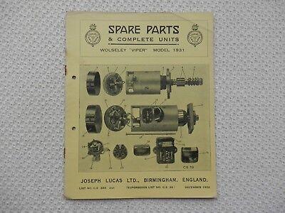 WOLSELEY VIPER 1931 LUCAS Parts List published December 1932