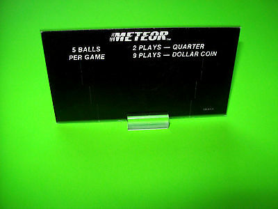 Stern Meteor 1979 Original Pinball Machine Price Card 2-Sided 2-Plays Quarter