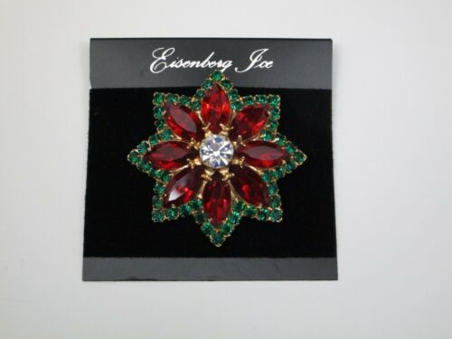 Signed Eisenberg Ice Poinsettia Brooch on card (w/ gift box) RARE piece