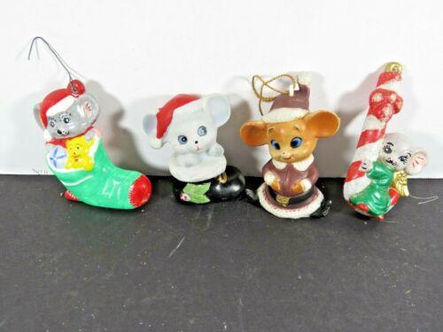 4 Vintage Mouse Christmas Ornaments Lot Mice Hard Plastic Homco Porcelain A9872