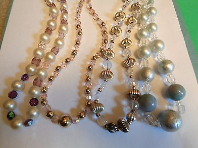 Vintage LOT of 4 Gold Tone Faux Pearl Crystal GLASS Beaded Necklaces Wear Repair
