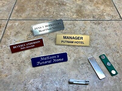1x3 Name Badge Engraved Tag Personalized Magnet Or Pin Identification Employee