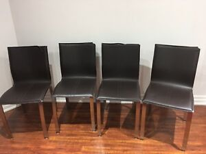 Brown leather kitchen chairs-5 available