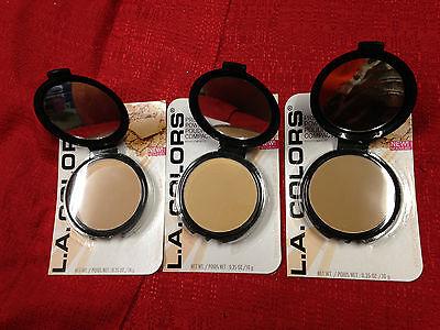 LA L.A. Colors Pressed Face Powder Tan Nude or Beige w/ Puff Applicator Compact