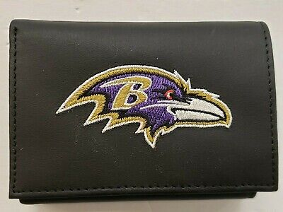 NFL Baltimore Ravens Tri-Fold Leather Wallet, New (Embroidered Logo)