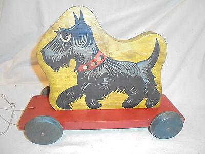 Vintage Scottie dog wood pull toy
