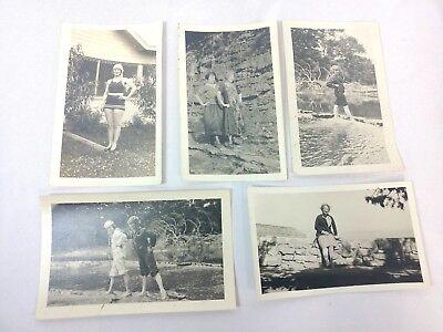 Vintage Photograph 1920 summer fashion trend swim dress women water scenic