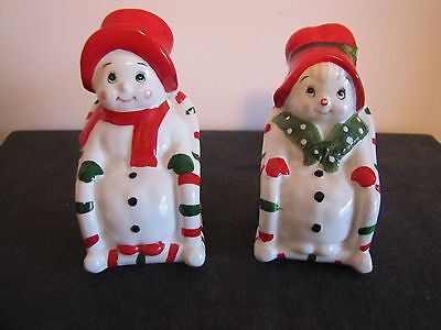 1984 LEFTON Christmas Mr & Mrs SNOWMEN On Rocking Chairs Salt & Pepper Shakers