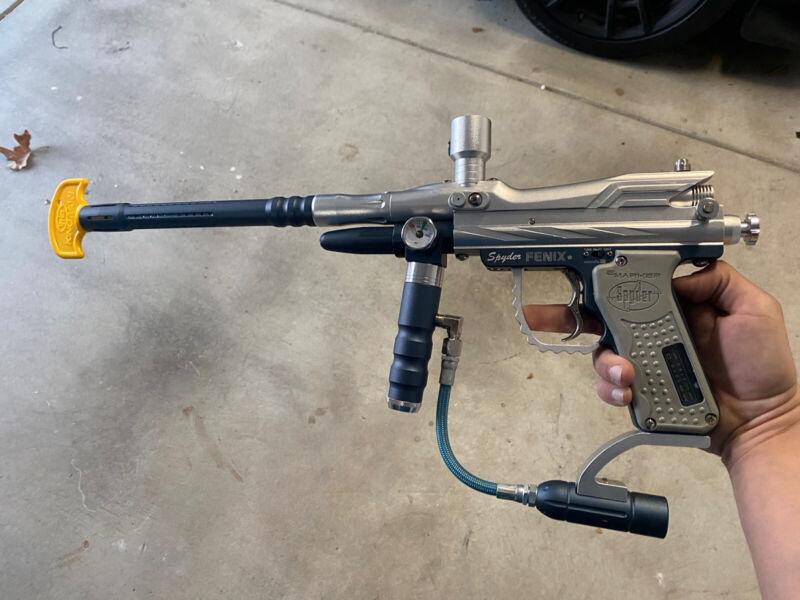 SPYDER FENIX ACS Paintball Marker Gun RARE. Bundle(Air, Hopper, Mask, Reload Con