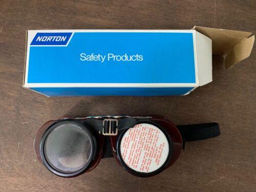 Vintage Norton 5023 Brown Safety Goggles Steampunk Aviator Motorcycle, NOS