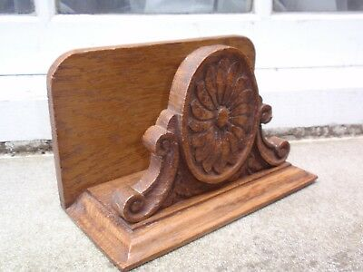 VINTAGE EDWARDIAN CARVED WOOD WOODEN WRITING DESK TOP LETTER RACK (A)