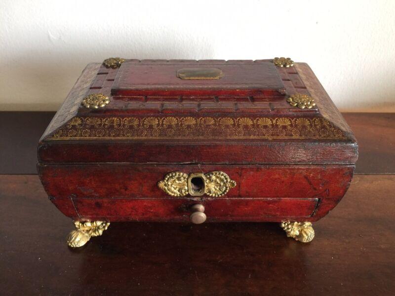 A Regency Box, Leather Bound With Ormolu, C. 1815. Wonderful!.
