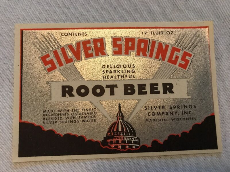 SILVER SPRINGS Root Beer Vintage Bottle Label, Madison Wisconsin