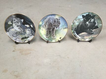 Franklin Mint - 3 x collectable big cat plates
