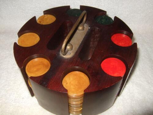 Catalin Poker Chips Marbleized Catalin Chips (195) Wood Holder Vintage Poker Set