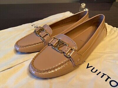 Authentic Women's Shoes Louis Vuitton Flat Leather Loafer size 37.5 (US 7.5)