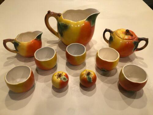 Vintage Maruhon Ware Japanese Peach Tea Pot Teacup Sugar Salt Pepper Creamer SET