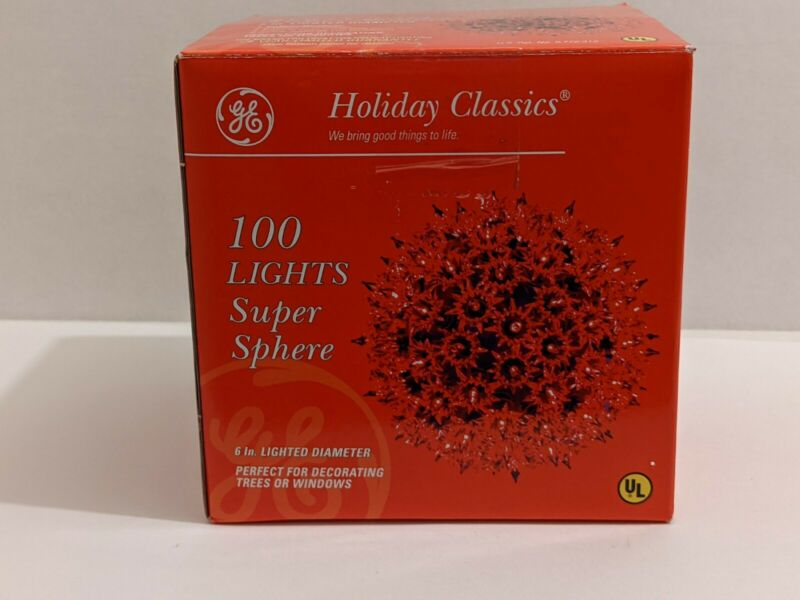 GE Holiday Classics 100 Lights Super Sphere Red with box