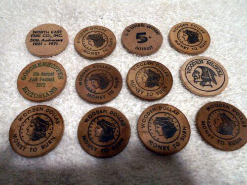 lot of 12 VTG Wooden Nickels Fire Dept. Bank PA Folk Festival 1972