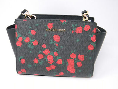 New Michael Kors Selma Black Signature Red Rose Floral Messenger Crossbody Purse