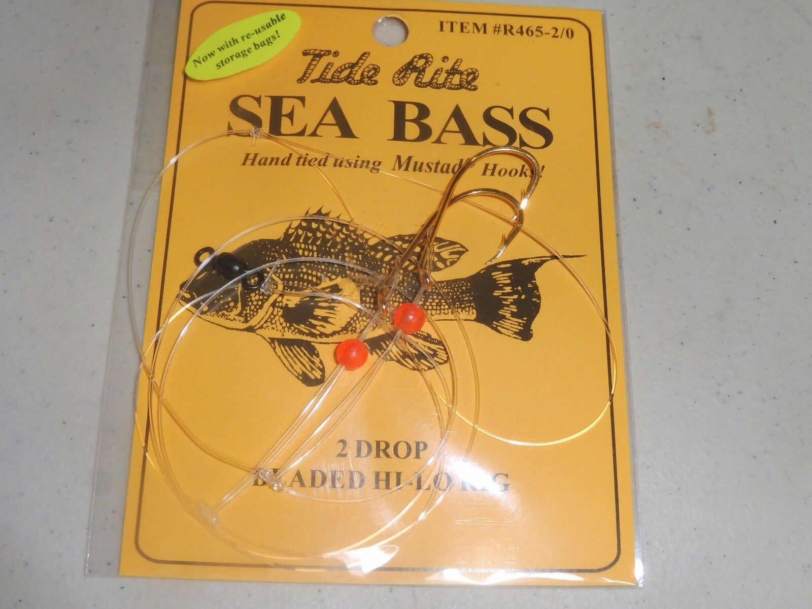 6 Sea Bass Black Tide Rite R465-20 2 Drop Beaded Hi-lo Saltwater Fish Rig