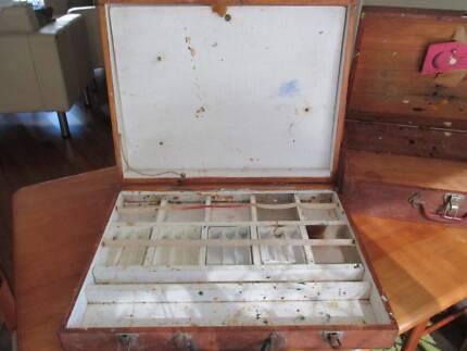 2 Vintage Wooden Artist / Painters Boxes