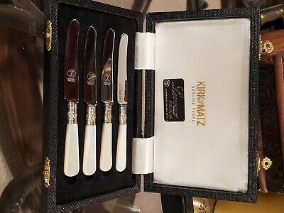 13 Pieces Large Serving Spoon Box Set of  Art Deco Dessert Forks and Spoons JL LTD EPNS Blue Velvet White Satin Cake Gift James Lodge Ltd