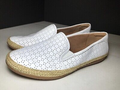 Collection by CLARKS Danelly Molly White Leather Slip-On Sneaker Size 7.5 New
