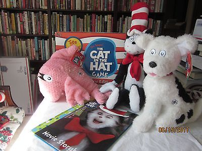 """NWTs 2003 Kohls Cares Dr. Seuss CAT IN THE HAT Movie 22"""" Cat, Dog ,game 3 books"""