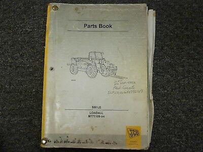 Jcb Model 550 Le Loadall Loader Parts Catalog Manual Book