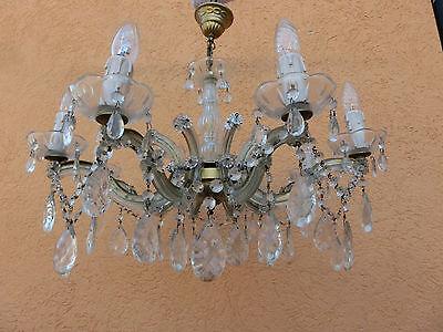 Kronleuchter Ø 65cm 8-flammig Sila, Deckenlampe Lampe Lüster Glas Kristalle #483
