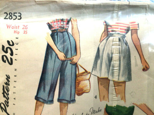 Jr & Misses Pedal Pushers Shorts Size 26 Wst Vtg Sewing Pattern Simplicity 2853