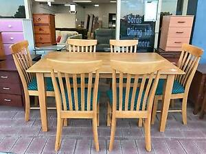 DELIVERY TODAY STRONG 7 pcs SOLID WOODEN dining table & chairs Belmont Belmont Area Preview
