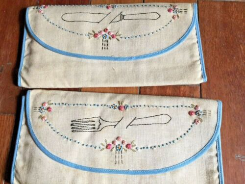 """Antique Embroidered """"Folks and Knifes Linen Silverware Holder Circa 1920's"""