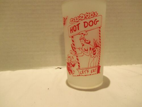 FROSTED SHORT HI BALL GLASS 50-60s- SEXY GIRLS-SILLY QUOTES-RARE