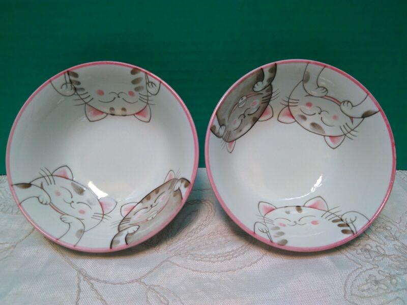 2 ~ Mino Ware Japanese Ceramics / Ramen Noodle Donburi Bowl Smiling Cats Pink