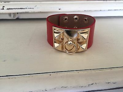 - Gold Pyramid Studded wide brown faux Leather Cuff Bangle Bracelet Wristband H