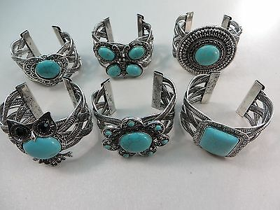 *US Seller*wholesale 20pcs antique vintage style turquoise bangle wide cuff
