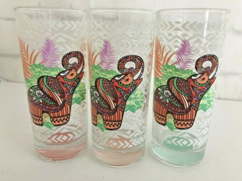 Vintage  6 Inch Elephant Jungle Drinking Glass, Tumbler  Lot Of 3